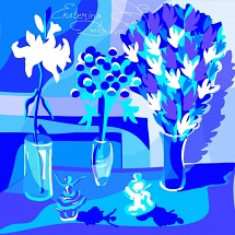 Blue still life with two porcelain figurines