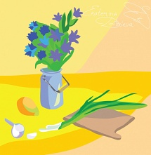Still life with onion and cornflowers