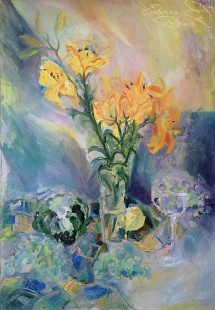 Still life with lilies on a kitchen table