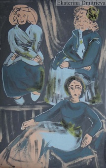 Three women in blue and grey