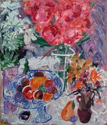 Still life with an abundance of flowers and fruit