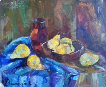 Still life with yellow pears