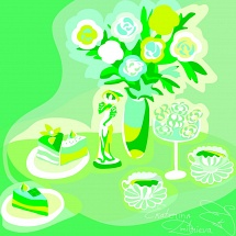 Green - white still life