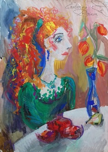 Lady with physalis and pomegranate