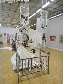Panorama of an exhibition and installation